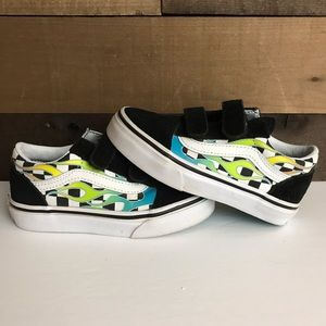 Vans checkerboard flame youth strap shoes 11